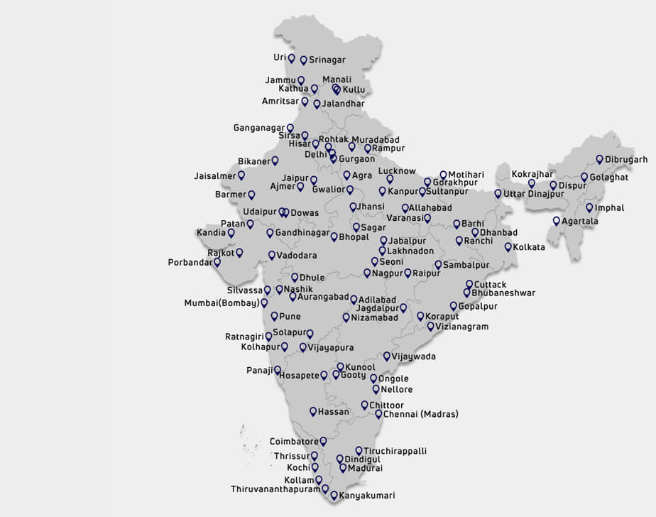 Tata Buses Service Location Map