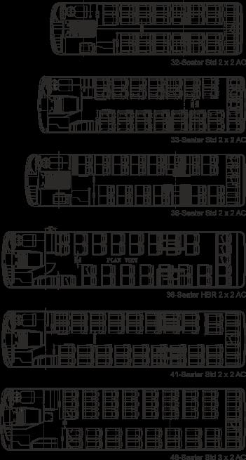 Tata Starbus Ultra 33 AC Plan views
