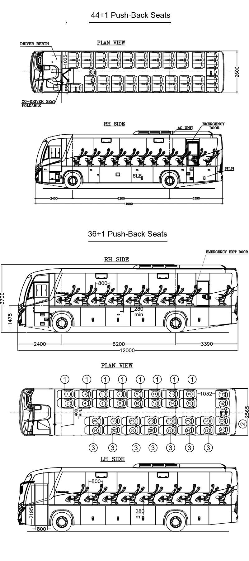 Tata Magna Bus Layout